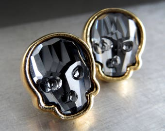 Crystal Skull Stud Earrings - Swarovski Crystal Black Skull Post Earrings with Gold Tone Bezels, Goth Gothic Halloween Jewelry, Unisex Studs