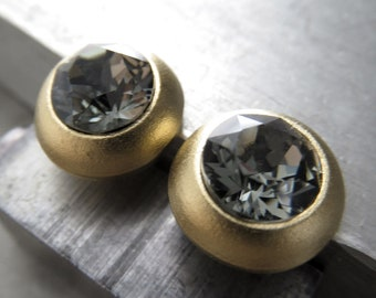 Unisex Black Diamond Crystal Gold Tone Stud Earrings - Matte Gold Plated Post Earrings with Swarovski Crystal, Modern + Minimalist Jewelry