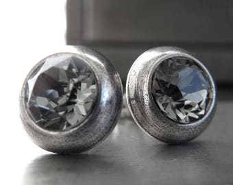 Ultra Modern Black Diamond Crystal Silver Stud Earrings - Unisex Silver Post Earrings with Grey Swarovski Crystal, Minimalist Silver Jewelry