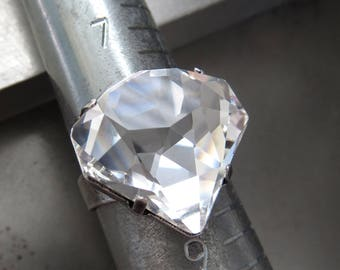 Diamonds are a Girl's Best Friend - Faux Diamond Ring with Unique Cut Swarovski Clear Crystal - Faux Diamond Ring with Antique Silver Band