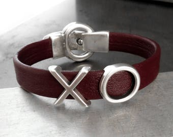 XO Deep Oxblood Red Leather Bracelet - LOVE Hugs Kisses Bracelet, Dark Blood Red Leather with Silver - Sexy Love Valentines Day Gift for Her