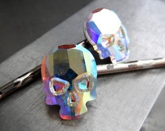 Iridescent Swarovski Crystal Skull Hair Pins, Set of 2 Crystal Skull Bobby Pins in Crystal AB Aurora Borealis, Goth Gothic Halloween Jewelry