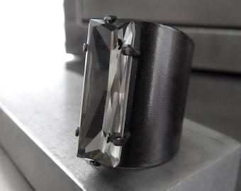 CONSTRUCT - Modern Minimalist Crystal Ring - Swarovski Black Diamond Crystal Baguette Ring, Gunmetal Architectural Ring Men Women Unisex