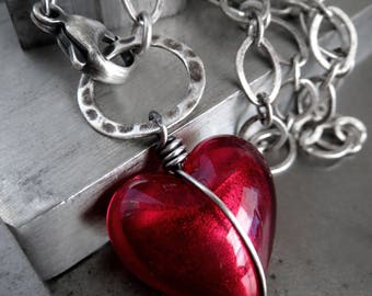 Prisoner of Love - Red Heart Pendant Necklace, Red Murano Glass Heart - Sexy Heart, Love Valentine Gift for Rocker Goth Gothic Girlfriend