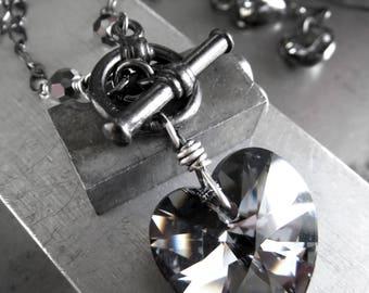 Black Night Crystal Heart Necklace, Black Gunmetal Chain, Swarovski Crystal Heart Pendant Necklace, Gothic Goth Valentine's Day - Tough Love