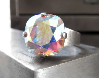 Swarovski Crystal Ring with Clear AB Crystal, Antiqued Silver Adjustable Ring - Multicolor Rainbow Iridescent Shimmer Pastel Colors, 4470