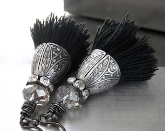 Black Tassel Earrings, Ornate Vintage Style Antiqued Silver and Rhinestone Crystal Earrings, Boho Earrings Jewelry, Black Tassel Jewelry