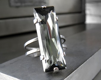 a265752d3 Swarovski Crystal Black Diamond Ring, Baguette Rectangle Adjustable  Cocktail Ring with Antiqued Silver, Modern Minimal Architectural Jewelry