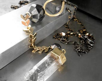 Clear Quartz Gemstone Pendant Necklace with Gold Plated Chevron Chain, Unique Geometric Jewelry Modern Design Jewelry