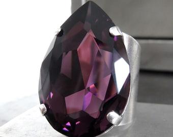 Large Amethyst Purple Swarovski Crystal Teardrop Ring - Purple Pear Shape Crystal Cocktail Ring - Antiqued Silver Wide Cuff Adjustable Ring