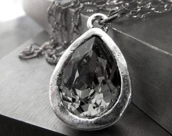 Swarovski Crystal Teardrop Pendant Necklace, Black Diamond Necklace, Antiqued Silver Artistic Bezel, Vintage Style Chain, Wedding Jewelry