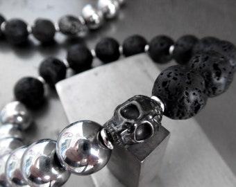 Black Skull Bracelet with Black Lava Beads, Metallic Hematite Color Round Beads - Unisex Mens Womens Bracelet, Stretch Adjustable Size