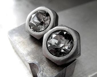 Mens Hex Nut Stud Post Earrings - Black Diamond Swarovski Crystal, Matte Gunmetal, Hardware Jewelry, Gift for Dad, Father, Husband, Unisex