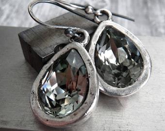 Swarovski Crystal Teardrop Earrings, Black Diamond Earrings, Antiqued Silver Artistic Bezels, Vintage Style Crystal Bridal Wedding Jewelry