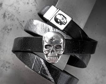 Skulls & Graffiti Black Leather Wrapped Bracelet with Silver Brush Stokes, Silver Skull and Crystal Skull Bracelet, Unisex Wrap Bracelet
