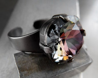 Midnight Bloom - Dark Swarovski Crystal Ring on Charcoal Adjustable Ring Band, Mystical Black Crystal Ring, Unisex Goth Gothic Jewelry 4470