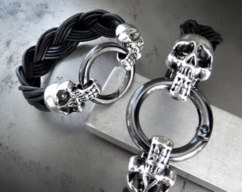 Silver Skull Black Braided Leather Bracelet, Unisex Mens Black Leather Skull Bracelet, Punk Badass Rocker Black Bracelet with Silver Skulls