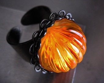 Bright Orange Halloween Pumpkin Ring with Black Gunmetal Adjustable Band, DayGlo Neon Orange, Halloween Jewelry, Goth Gothic Jewelry Ring