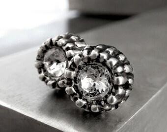 SALE - Unisex Clear Swarovski Crystal Urchin Earrings, Small Petite Antiqued Silver Stud Post Earrings, Sea Ocean Inspired Nature Jewelry