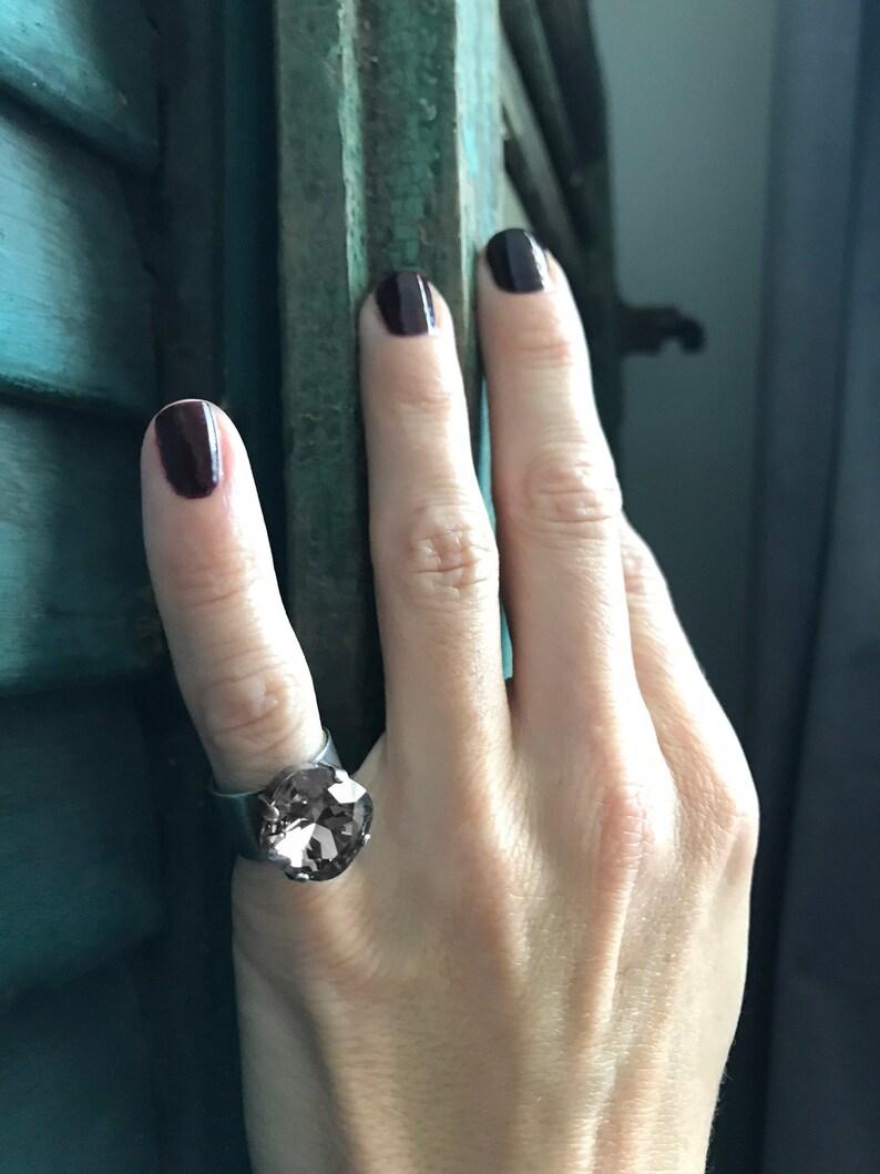 5ac7d3f8d Unisex Mens Pinky Ring with Swarovski Black Diamond Crystal | Etsy