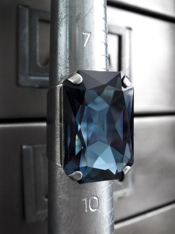 NOBILITY Large Swarovski Crystal Ring in Midnight Blue  4e5f2b532a
