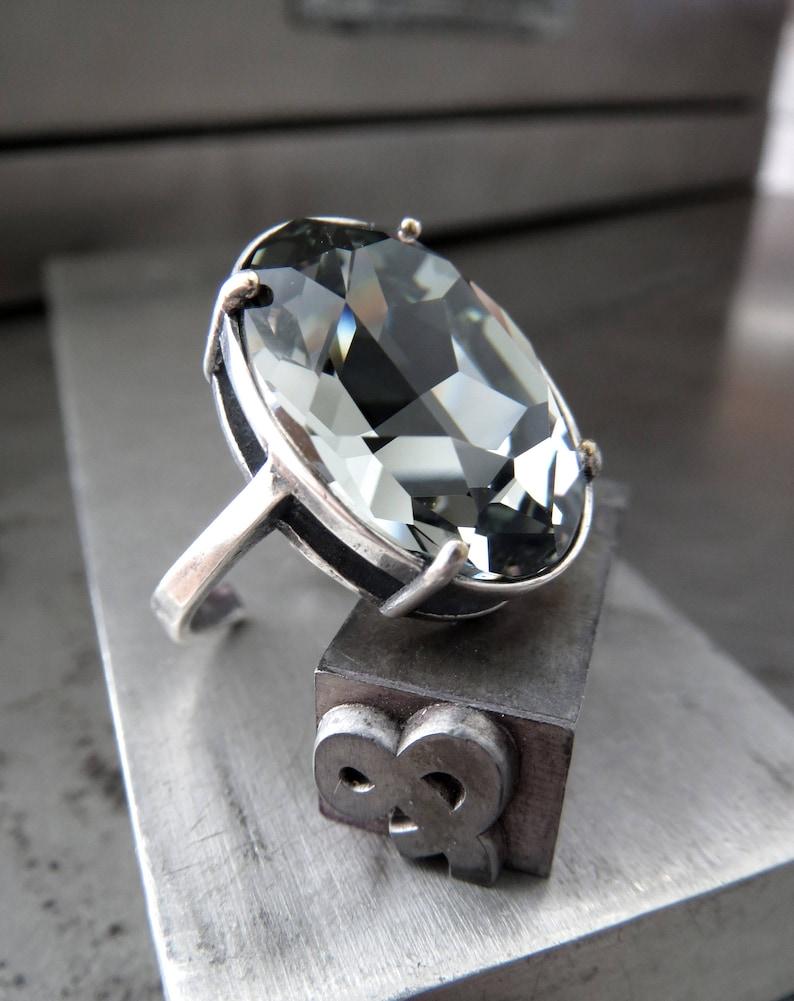 74bed74ca Swarovski Black Diamond Crystal Ring Dark Grey Black Oval | Etsy