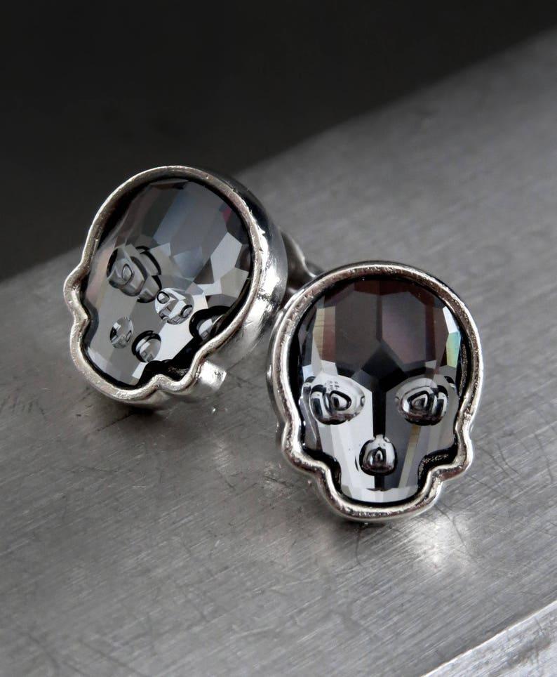 3c224c17c3df Crystal Skull Stud Earrings Swarovski Crystal Black Skull