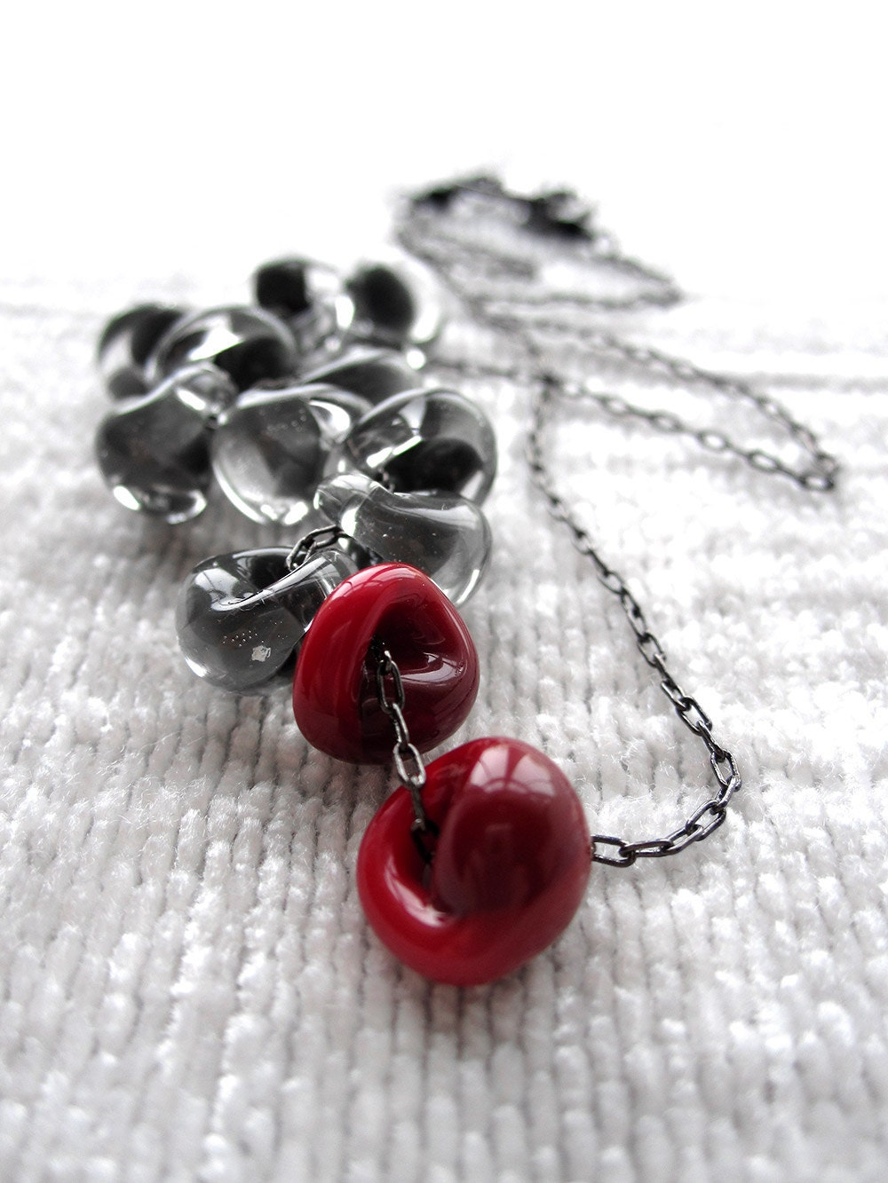 Dark Blood Red and Gray Necklace Asymmetrical Storm Cloud ...