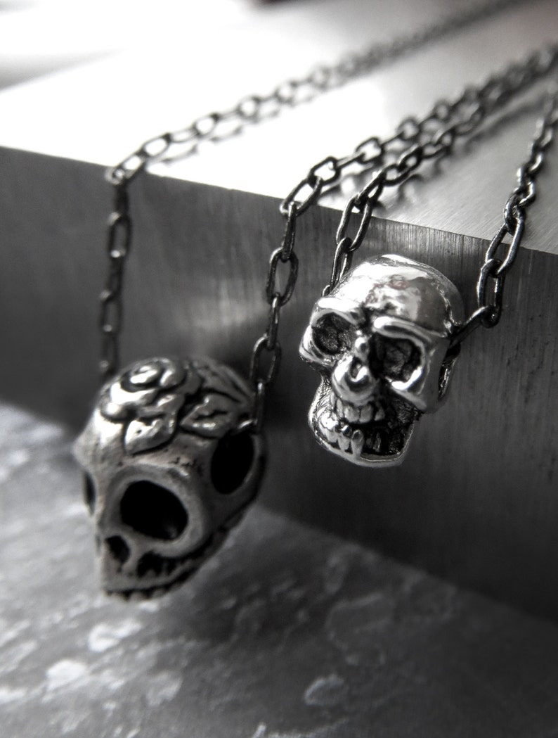 Tiny Silver Skull Necklace Skull Pendant Necklace Goth image 0