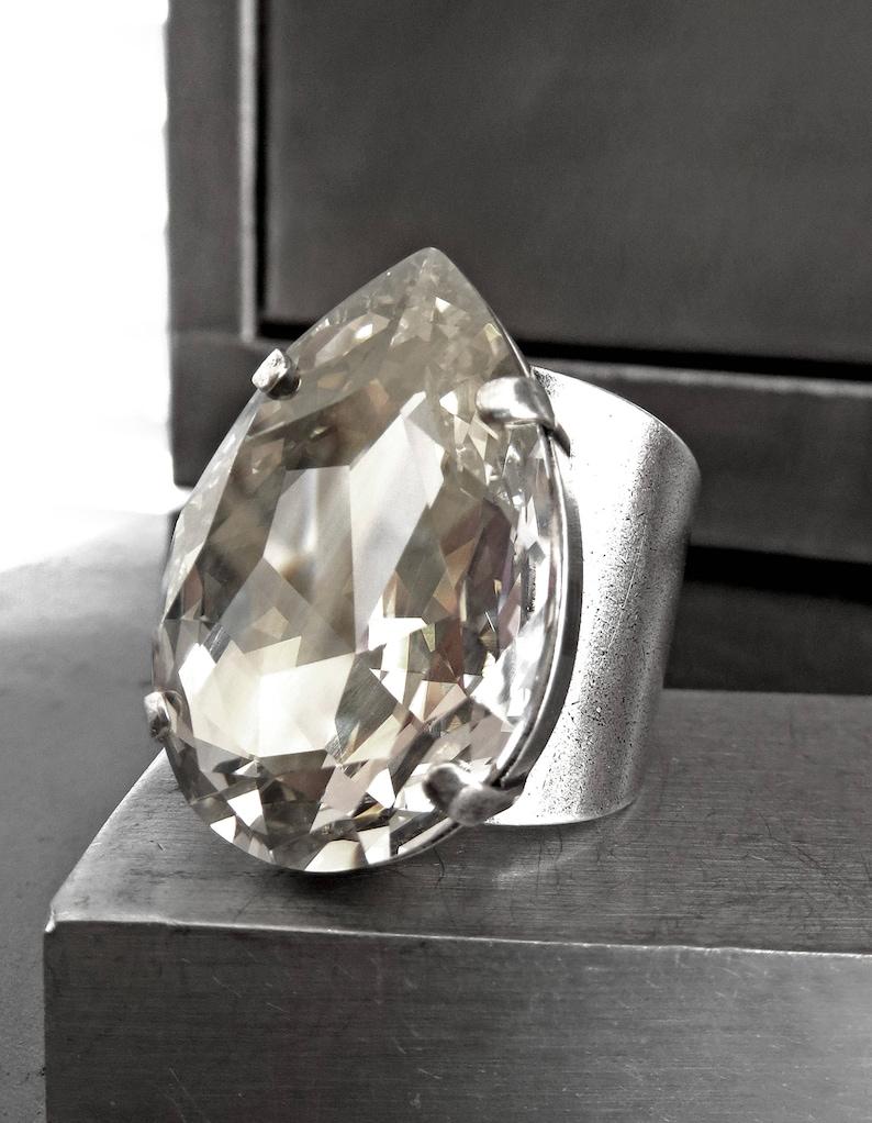 b4b5d93a5 ILLUMINATE Large Swarovski Crystal Silver Shade Teardrop | Etsy
