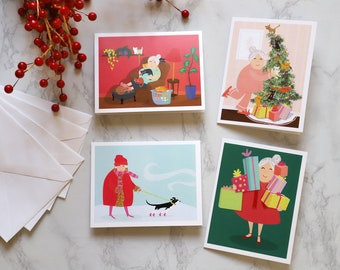 SueBea Christmas Cards Set of 4