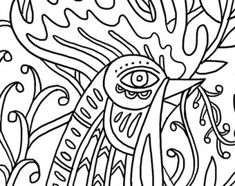 ROOSTER   Printable Coloring Page   8.5 x 11 PDF