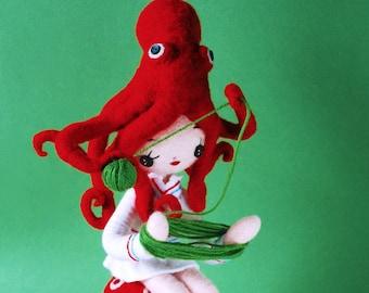 Print: Octo-Girl (green) - needlefelted felt octopus art plush toy doll photograph wall-decor yarn red hinemizushima digital-print poster