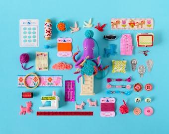 Print: Playful Crafting - art miniature collage photo blue wall decor digital octopus felt toy retro pez sewing crocheting knitting yarn