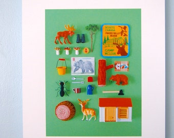 Print: Camping - Nature Green Forest Woodland Deer Miniature Collage Photograph Wood Wall decor Art Fall Autumn HineMizushima Toy Poster