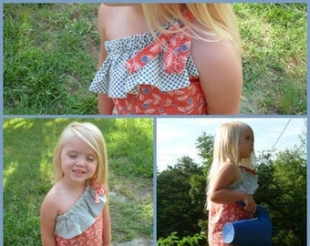 One Shoulder Ruffle Top PDF childrens SEWING PATTERN - sizes 18m / 2 / 3 / 4 / 5 / 6 - instant download