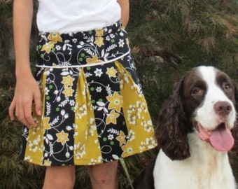 PDF Sewing Pattern - Pleated Skirt with piping detail - Sizes 6 -12 months to 14 tween