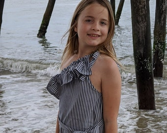 One Shoulder Ruffle Top PDF Tweens Sewing Pattern - Instant Download - sizes 7/8, 10/12, 14/16 - easy to sew