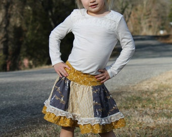 Stripwork Skirt - Twirly circle skirt with ruffle - PDF Sewing Pattern Instant Download - 6 months - 14 tween