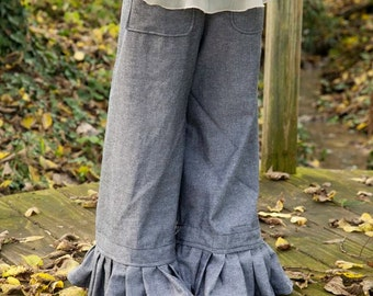 PDF Sewing Pattern - Ruffle Pants with Pleated or Bias Trimmed Double Ruffles - Sizes 12 months to 14 tween