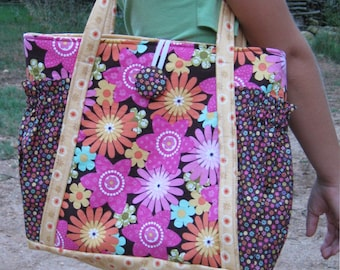 Original Satchel Tote Bag - PDF Sewing Pattern Instant Download - makes a great purse or diaper bag - inside & outside pockets