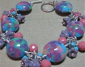 Turquoise, Pink, Green, & Lavendar Southwestern Sorbet Cluster Station Bracelet - B134