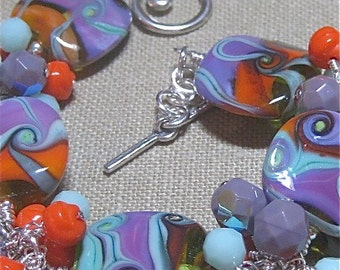 Gorgeous Handmade Glass Funky Lavendar, Red and More Cluster Station Bracelet - B706