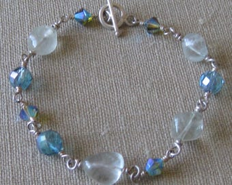 Sweet Blues Fluorite and Mystic Quartz Wire Wrapped Toggle Bracelet
