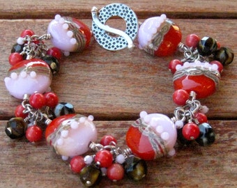 Yummy Pink & Red Handmade Glass Soda Shop Cluster Station Bracelet - B158