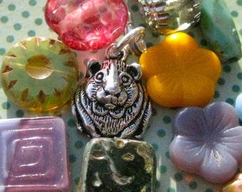 Guinea Pig Key Purse Charm - Dress Me Up Guinea Pig Charm - Cavy Charm Jewelry