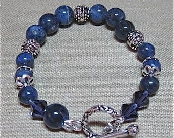 Sodalite and Bali Silver Bracelet - B106