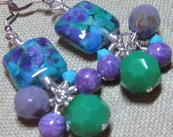 Blue, Green & Purple Handmade Glass Wild Berries Cluster Dangle Earrings