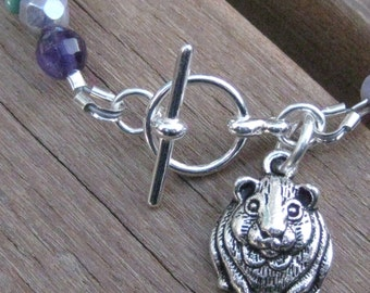 Guinea Pig Custom Charm Bracelet - NEW Letters Available - Cavy Jewelry - Guinea Pig Jewelry