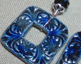 Dark Blue Carved Porcelain Square & Swarovski Crystal Earrings
